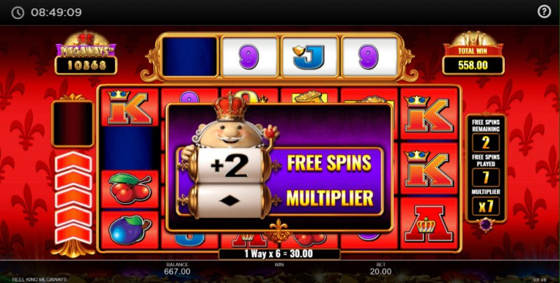 Reel King Megaways :: 2 additional free spins awarded