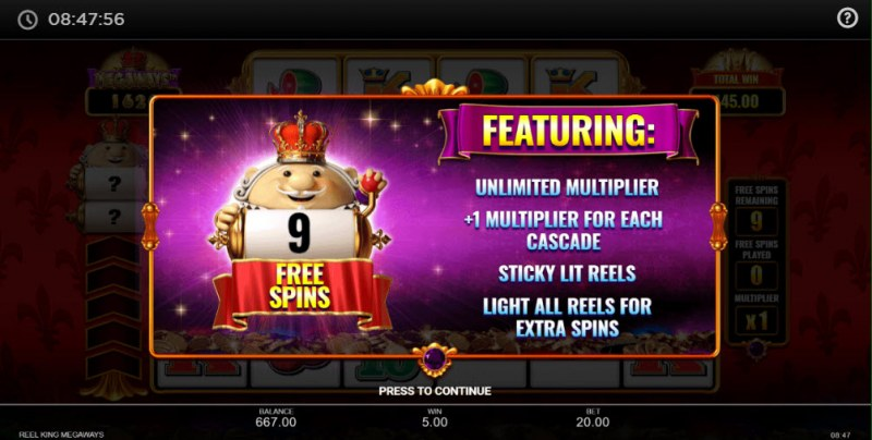 Reel King Megaways :: 9 Free Spins Awarded