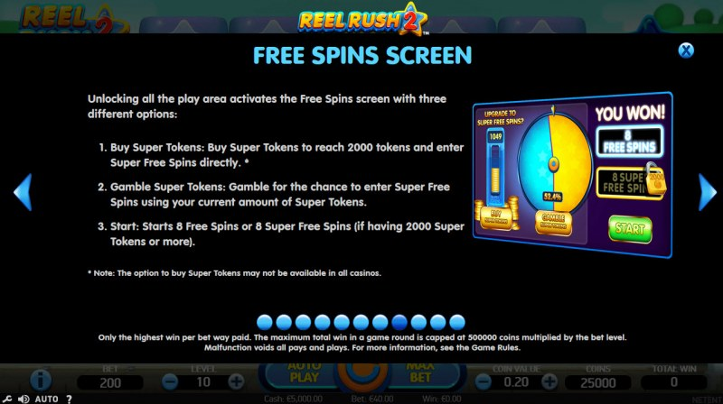 Reel Rush 2 :: Free Spins Rules