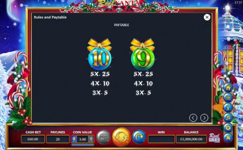 Reel Santa :: Paytable - Low Value Symbols