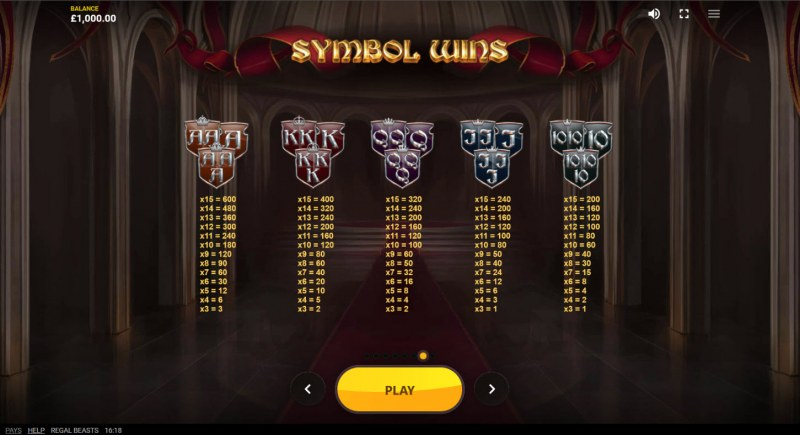 Regal Beasts :: Paytable - Low Value Symbols