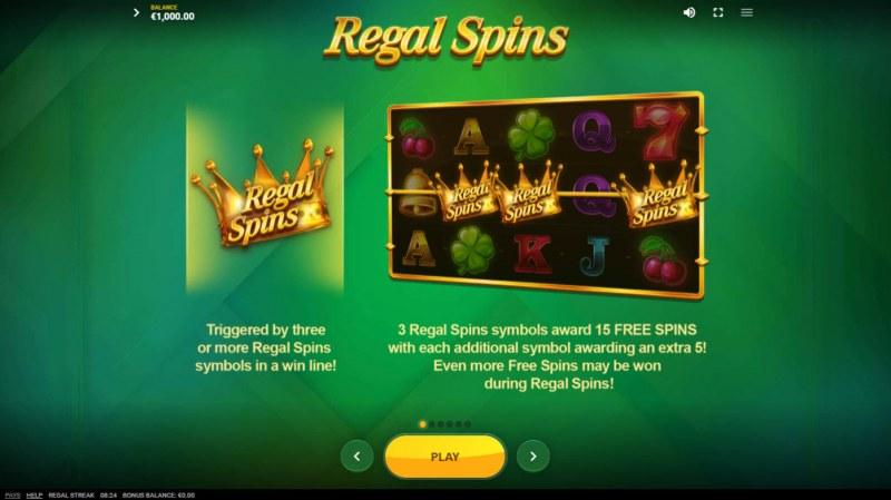 Regal Streak :: Free Spin Feature Rules