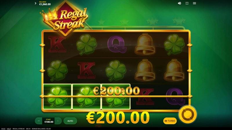 Regal Streak :: A three of a kind win