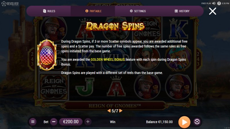 Reign of Gnomes :: Free Spins Rules