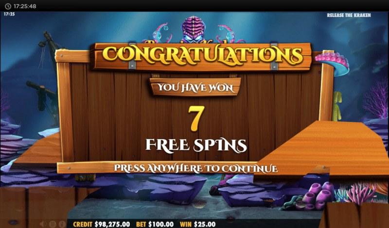 Release the Kraken :: 7 Free Spins Awarded