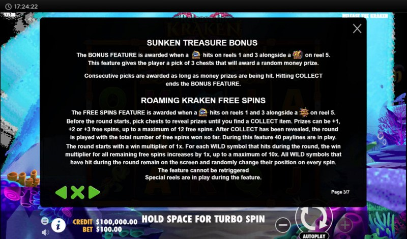 Release the Kraken :: Free Spins Rules