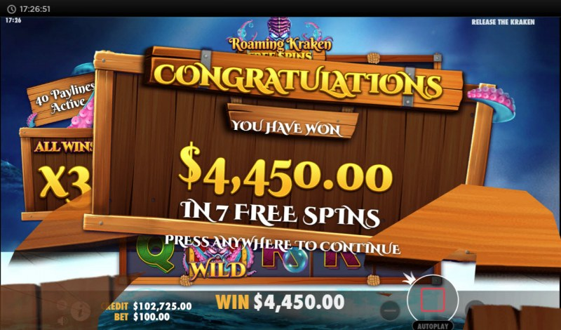 Release the Kraken :: Total free spins payout