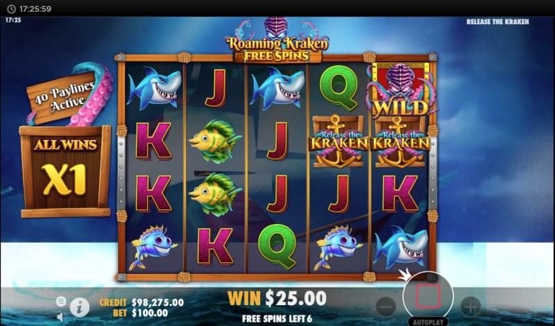 Release the Kraken :: Free Spins Game Board