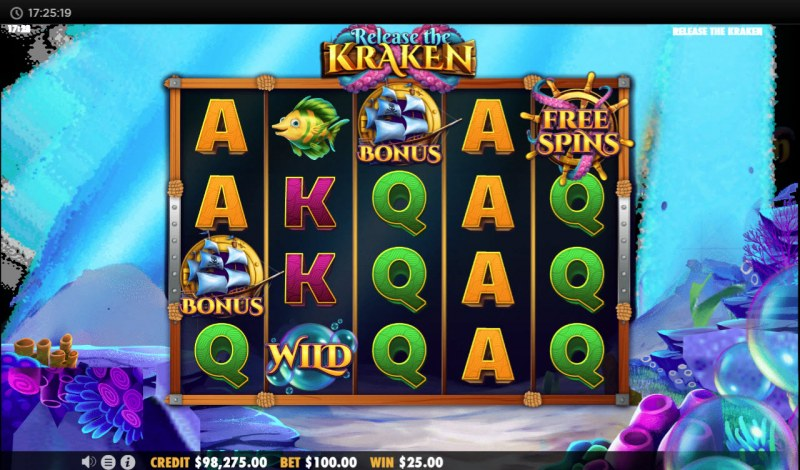 Release the Kraken :: Scatter symbols triggers the free spins feature