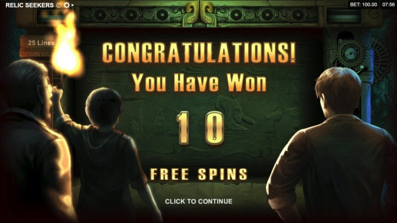 Relic Seekers :: 10 Free Spins Awarded