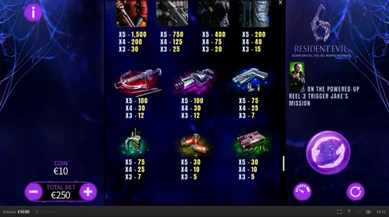 Resident Evil 6 :: Paytable - Low Value Symbols