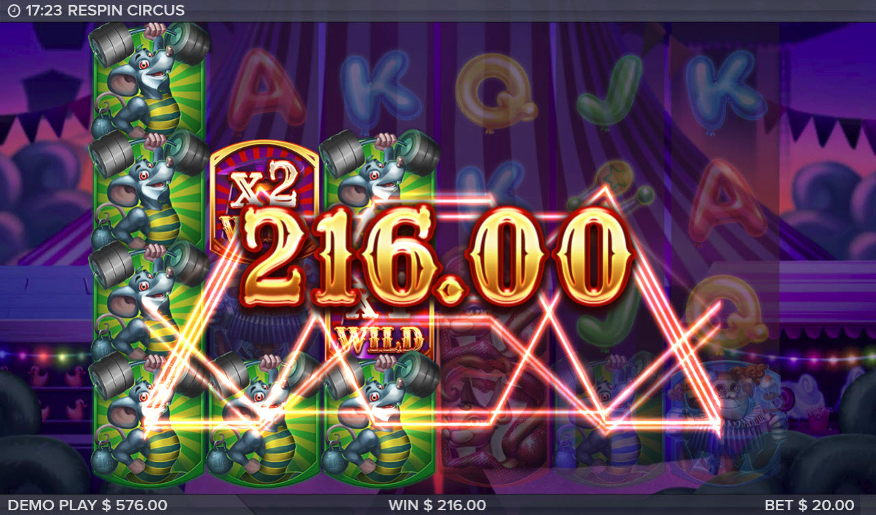 Respin Circus :: Big payout triggered by the Symbol Upgrade feature