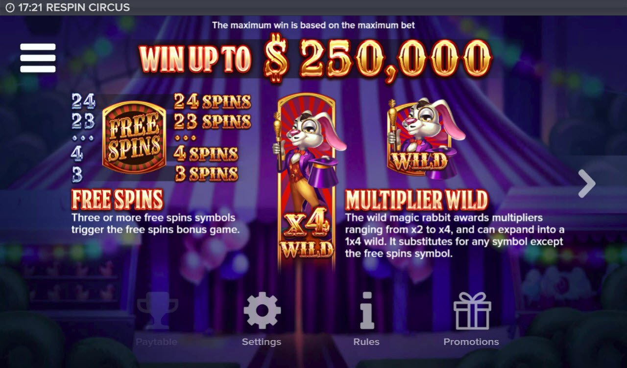 Respin Circus :: Respins and Multiplier Wild
