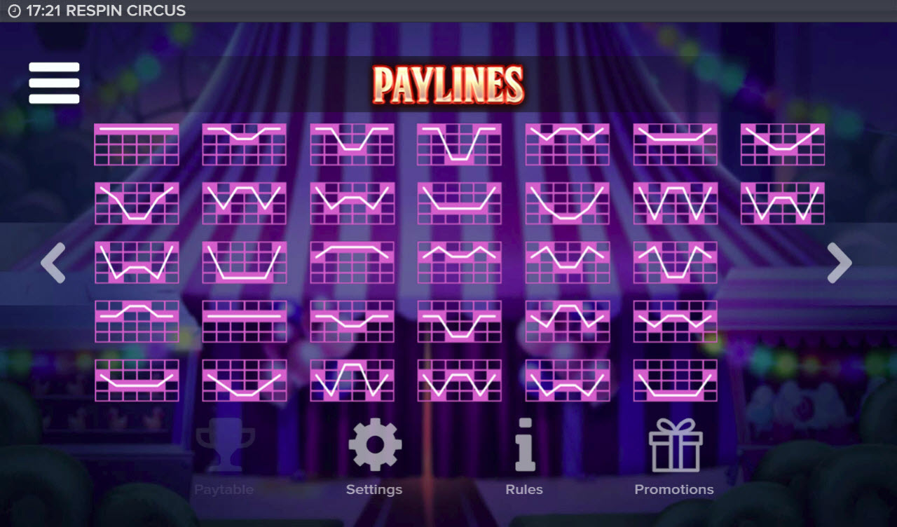 Respin Circus :: Paylines 1-32