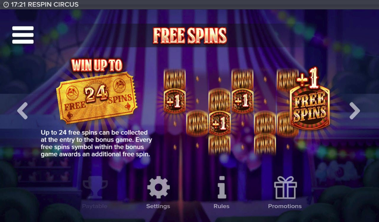 Respin Circus :: Free Spins Rules