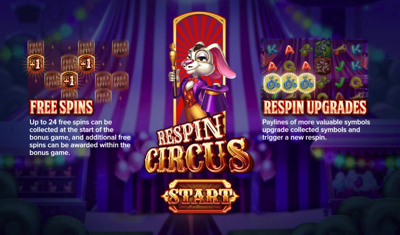 Play slots at Casinia: Casinia featuring the Video Slots Respin Circus with a maximum payout of $250,000