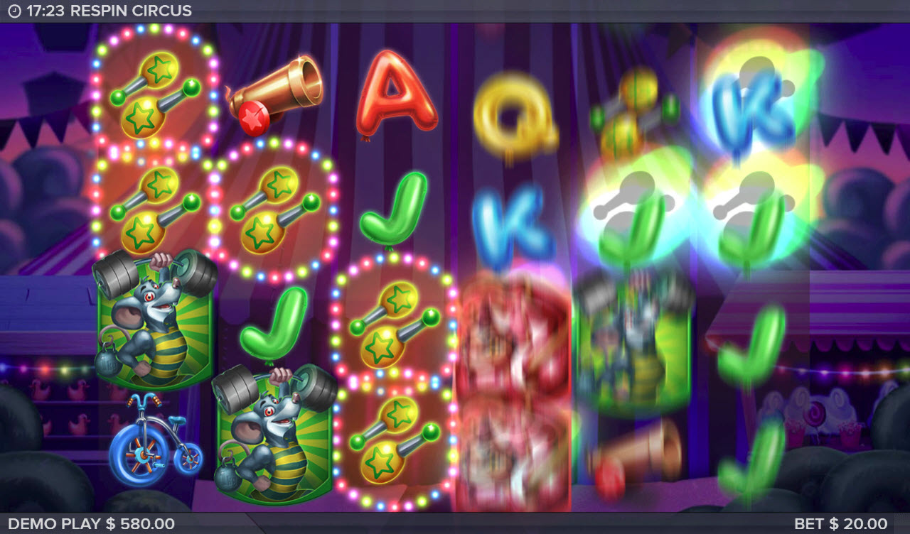 Respin Circus :: Respin is triggered after any winning combination along with any additional symbols landing on the reels adding to the existing winning paylines