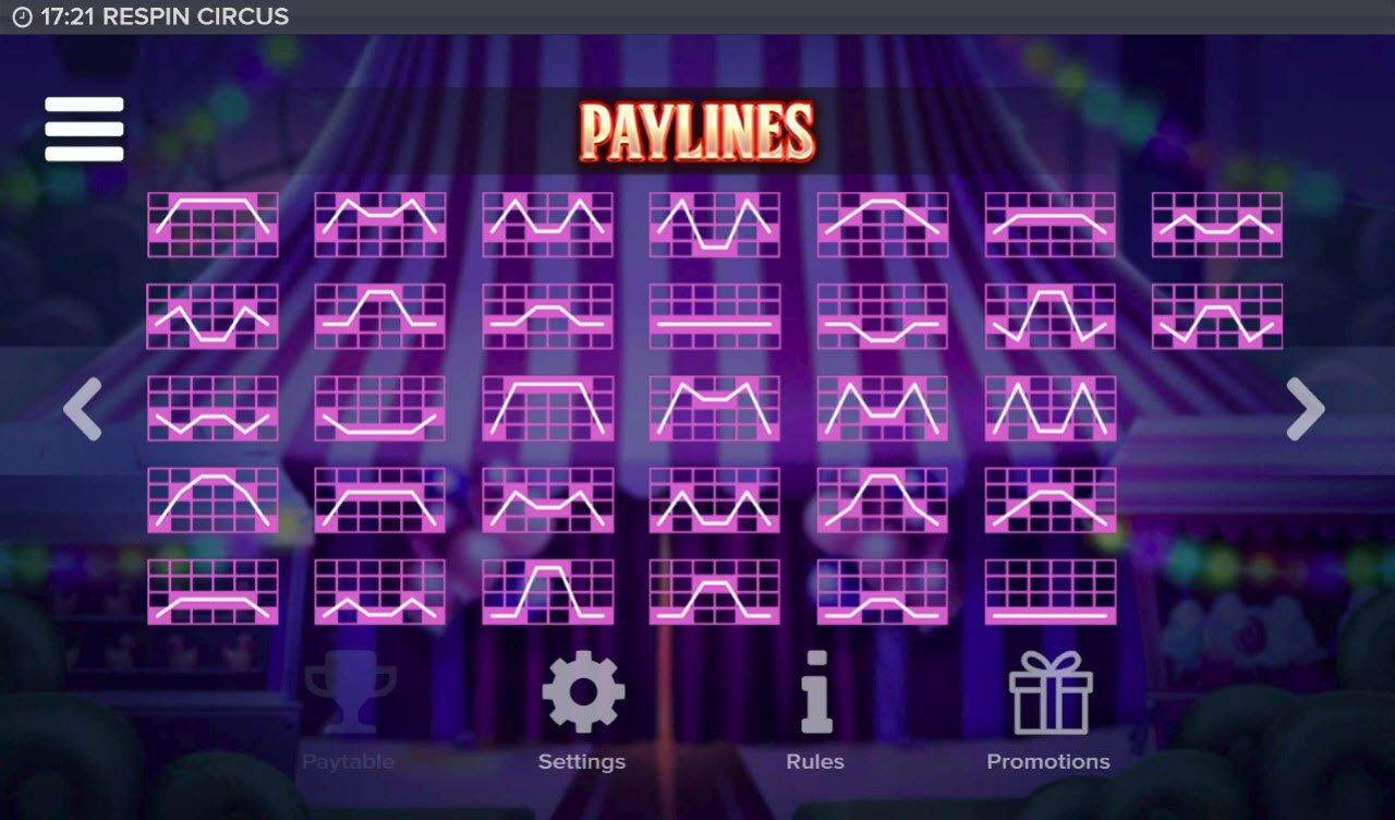 Respin Circus :: Paylines 33-64