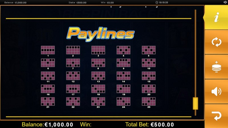 Respin Racer :: Paylines 1-25