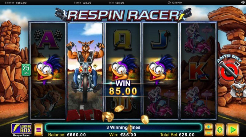 Play slots at Reel Vegas: Reel Vegas featuring the Video Slots Respin Racer with a maximum payout of $62,500