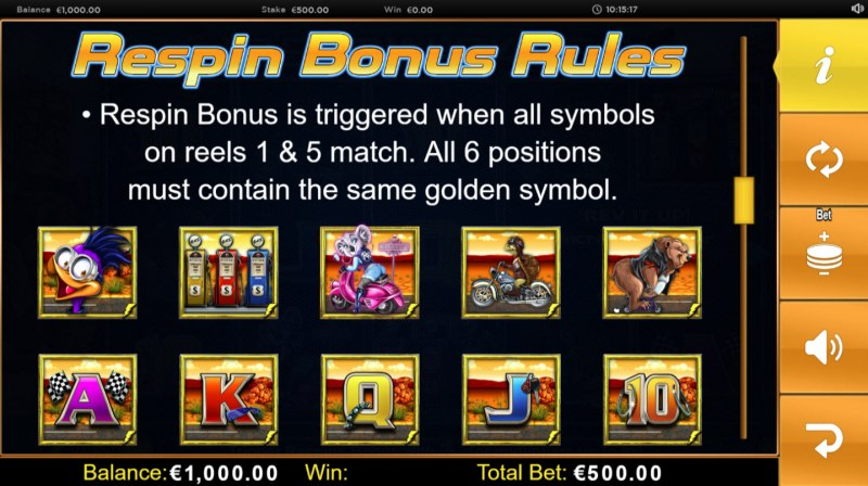 Respin Racer :: Respin Bonus Rules