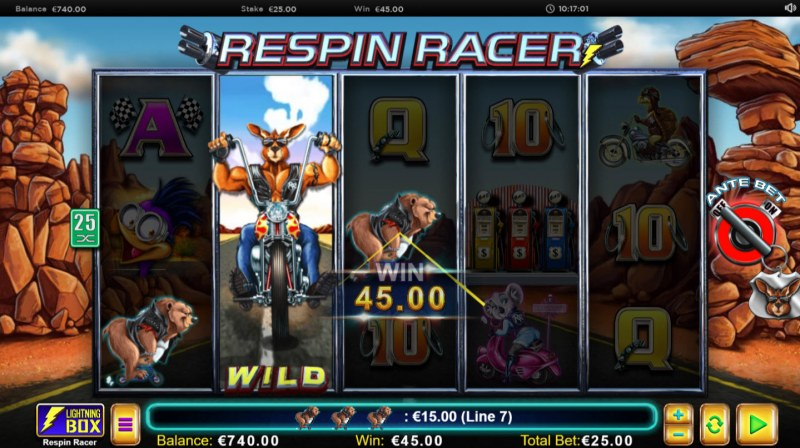 Respin Racer :: Stacked wild symbol triggers a three of a kind