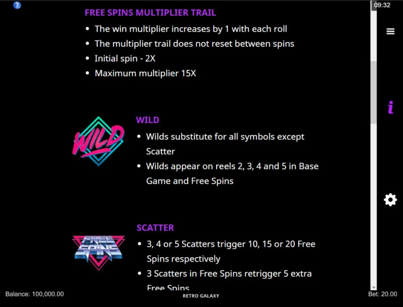 Retro Galaxy :: Wild and Scatter Rules