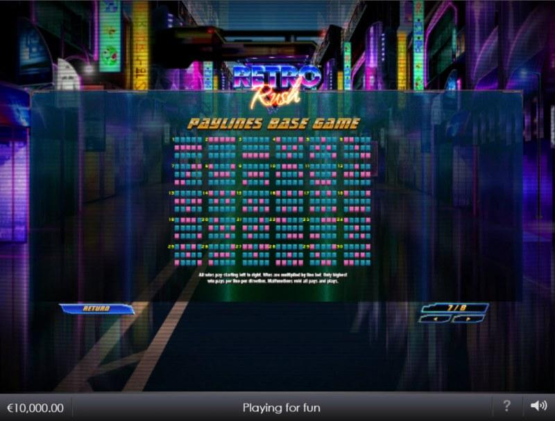 Retro Rush :: Base Game Paylines