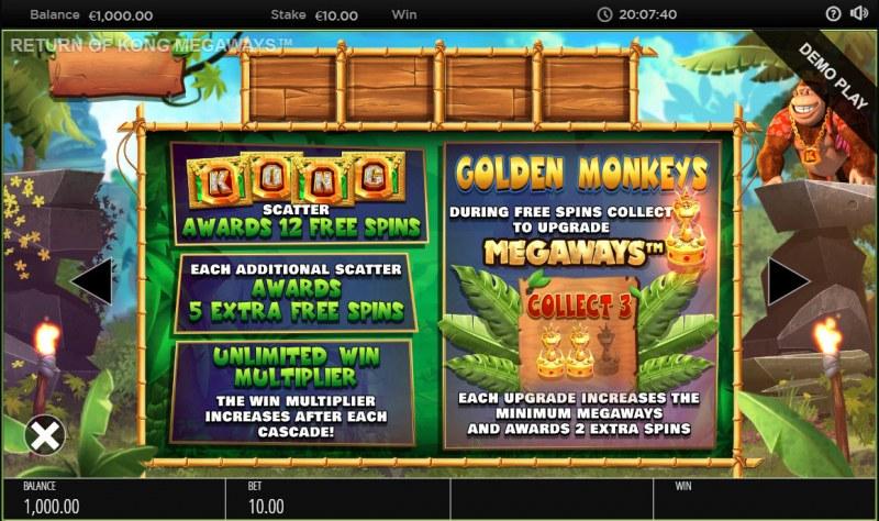 Return of Kong Megaways :: Scatter Symbol Rules