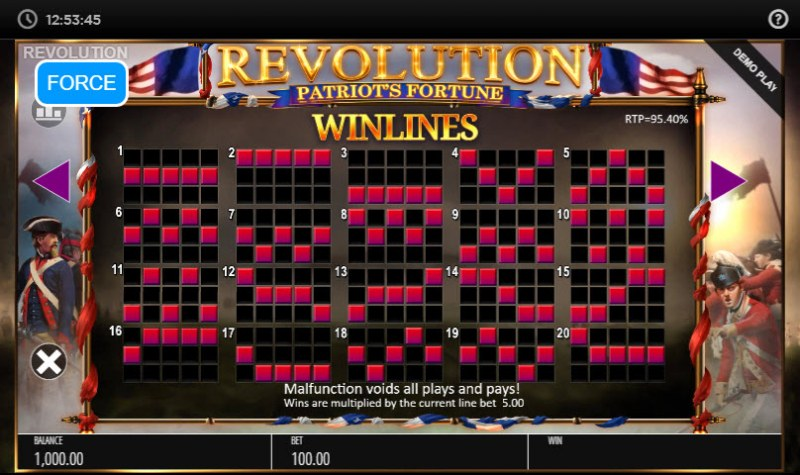 Revolution Patriot's Fortune :: Paylines 1-20