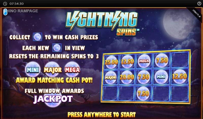 Rhino Rampage Lightning Spins :: Lightning Spins bonus game triggered
