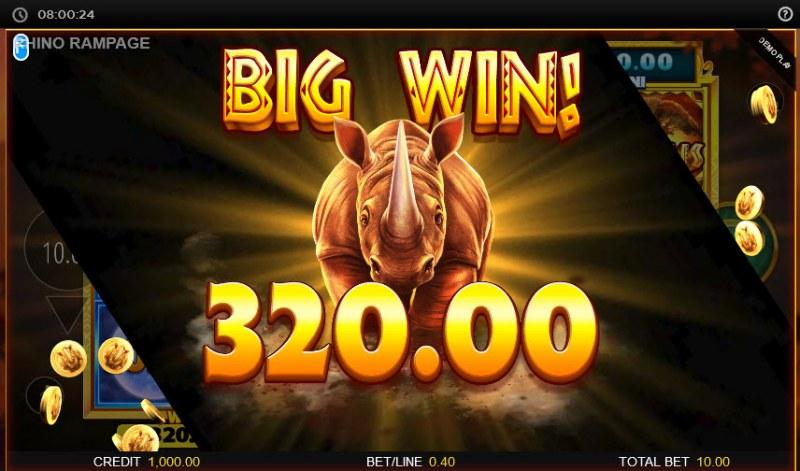 Rhino Rampage Lightning Spins :: Total bonus payout