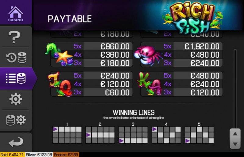 Rich Fish :: Paytable - Low Value Symbols