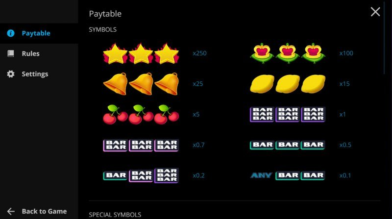 Rich Reels :: Paytable