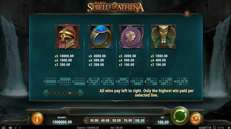 Rich Wild and the Shield of Athena :: Paytable - High Value Symbols