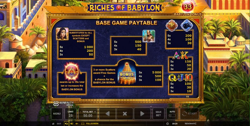 Riches of Babylon :: Paytable
