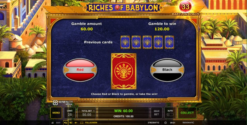 Riches of Babylon :: Black or Red Gamble Feature