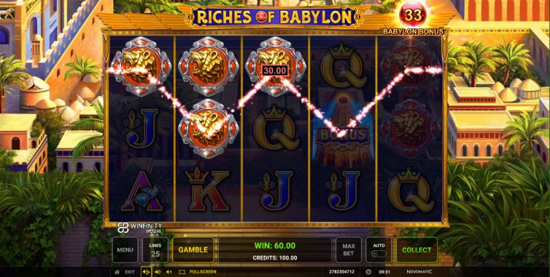Riches of Babylon :: Three of a kind win