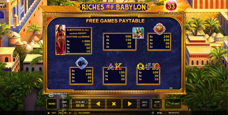 Riches of Babylon :: Free Spins - Paytable