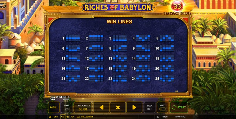 Riches of Babylon :: Paylines 1-25