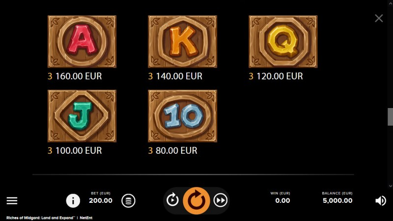 Riches of Midgard Land and Expand :: Paytable - Low Value Symbols