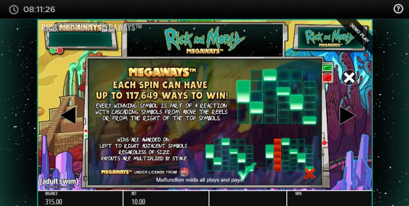 Rick and Morty Megaways :: Up to 117649 ways to win