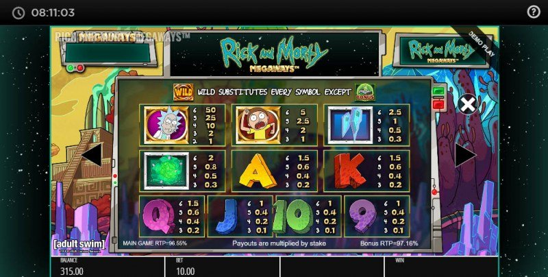 Rick and Morty Megaways :: Paytable