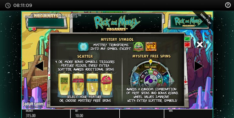 Rick and Morty Megaways :: Free Spins Rules