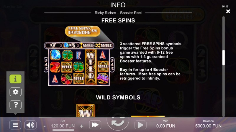 Ricky Riches Booster Reel :: Free Spin Feature Rules