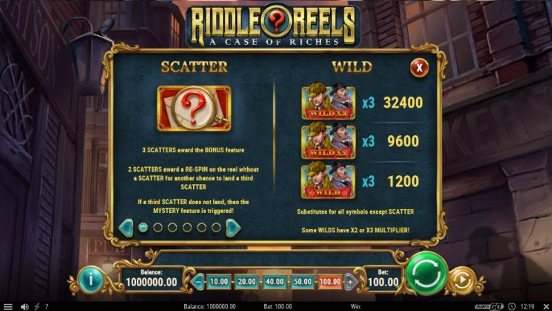 Riddle Reels A Case of Riches :: Wild and Scatter Rules