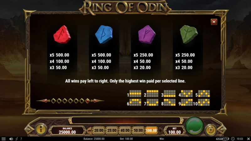 Ring of Odin :: Paytable - Low Value Symbols