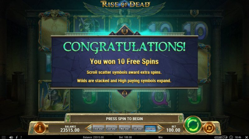 Rise of Dead :: 10 Free Spins Awarded