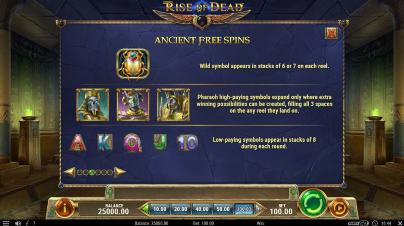 Rise of Dead :: Free Spins Rules