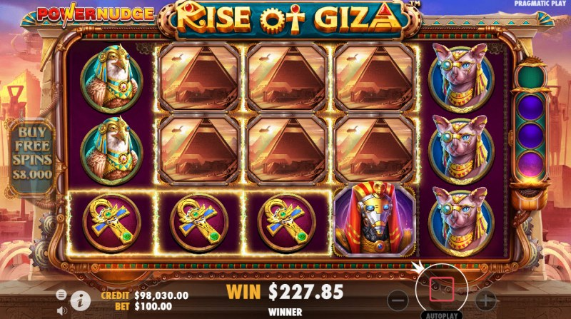 Rise of Giza PowerNudge :: Any win activates the PowerNudge feature